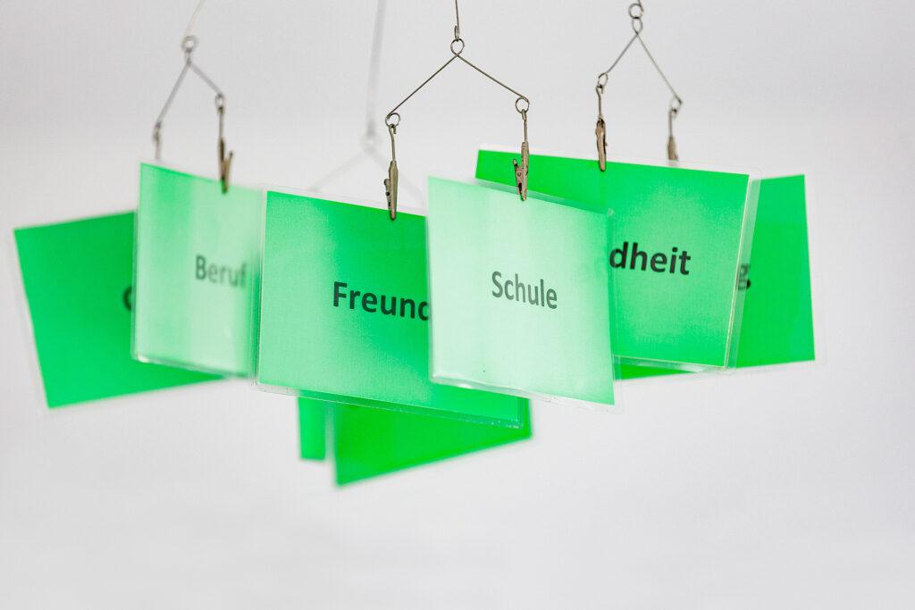 Foto: Schulsozialarbeit - Mobile mit Schlüsselwörtern